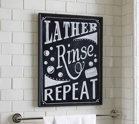 Cute Idea Diy Lather Rinse Repeat Sign Pottery Barn