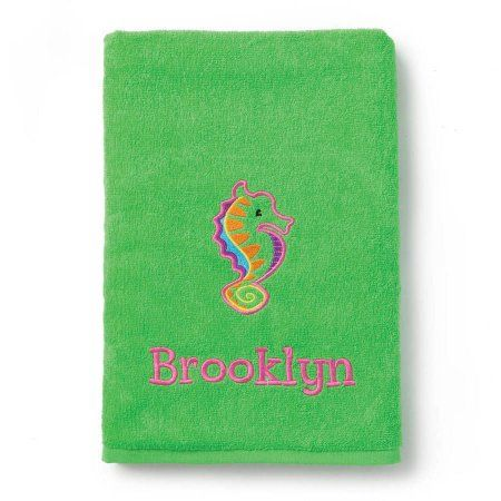Sea Horse Personalized Lime Green Towel, Multicolor