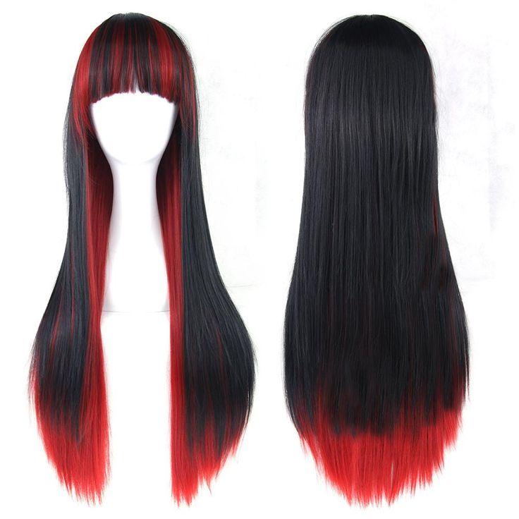 Красные и Черные Женщины Волосы Длинные Прямые Косплей Парики Из Синтетических Волос Full Lace Wig