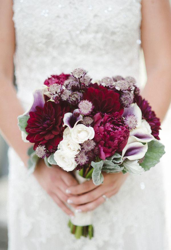 Dahlias, calla lilies, mauve and marsala // Best Lakeside Lake Tahoe Wedding