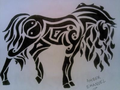 Tribal Horse Drawing; Place a Dreamcatcher where the Ying/Yang is.... = Perfect