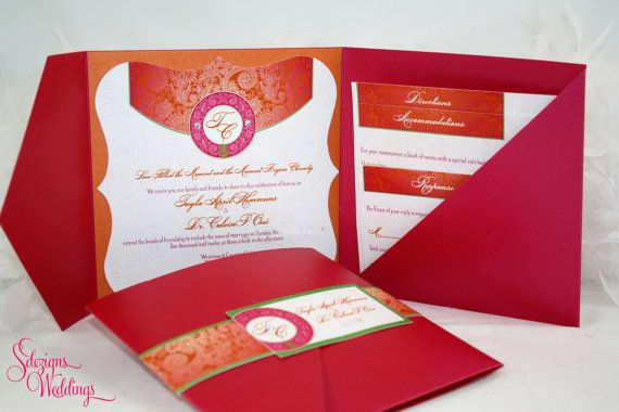 Gorgeous Vibrant Pattern Indian Wedding Invitation by SDezigns