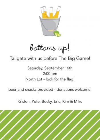 Bucket of Beer invitation - another cute Tailgate party invite.