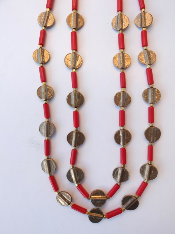 Red fine glass w/ golden brass (small spheres and coins). Two strands in one necklace.