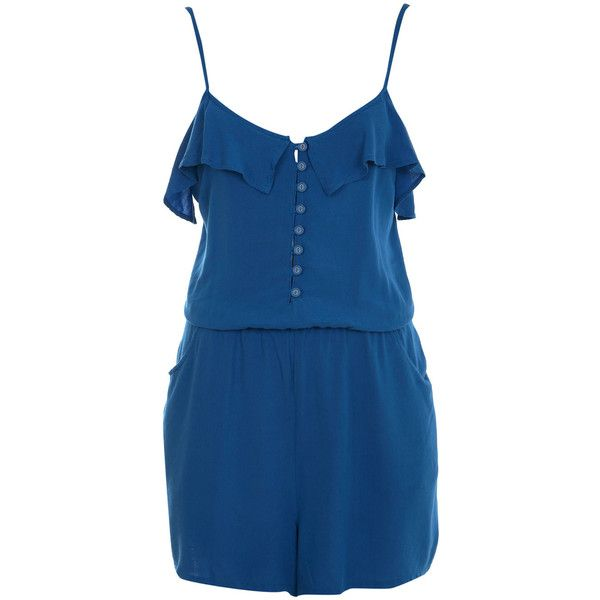 Blue Bow Back Romper (340 UYU) ❤ liked on Polyvore featuring jumpsuits, rompers, dresses, playsuits, shorts, blue romper, miss selfridge, playsuit romper and blue rompers