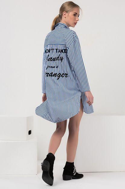 Kadın Mavi Çizgili Tunik Gömlek