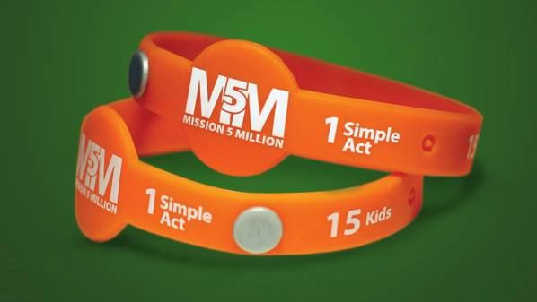 Specially made wrist bands for  championing our cause against childhood malnutrition.