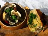 Portuguese Fish stew- use your favorite seafoods and herbs that you like.  Any crusty bread is great with it