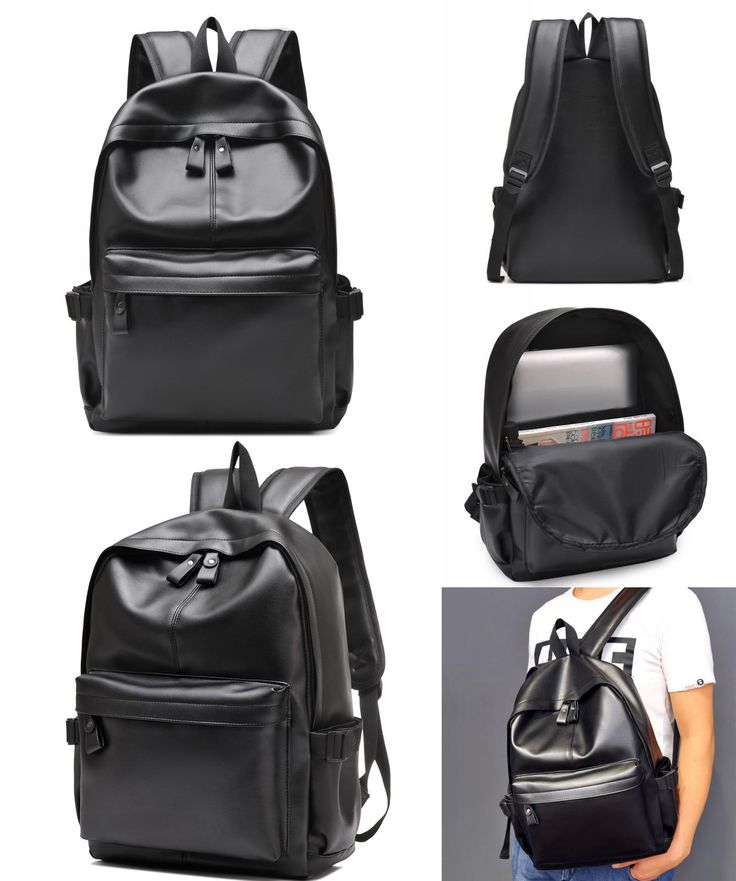 [Visit to Buy] 2017 Men and Women Laptop Bags 15.6 inch Pu Leather Rucksack School Travel Bag Male Backpack Notebook Computer Bag black #Advertisement