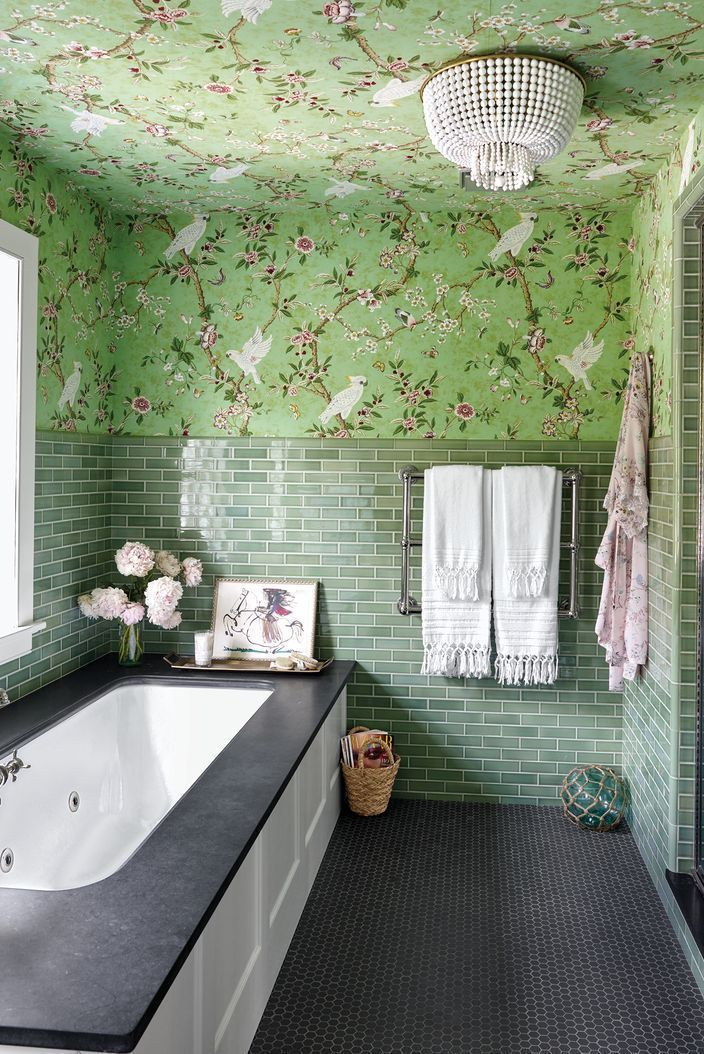 These Bathrooms Will Inspire You To Go Bold With Wallpaper In 2020 Bathroom Wall Tile Design Green Bathroom Bathroom Tile Designs