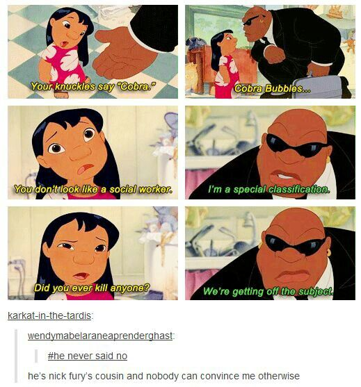 Haha Disney version of Nick Fury! <--- That awkward moment when Marvel is owned by Disney and therefore Nick Fury is the Disney Fury