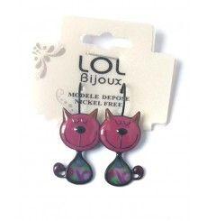 Boucles d'oreilles chat rose - Lolilota