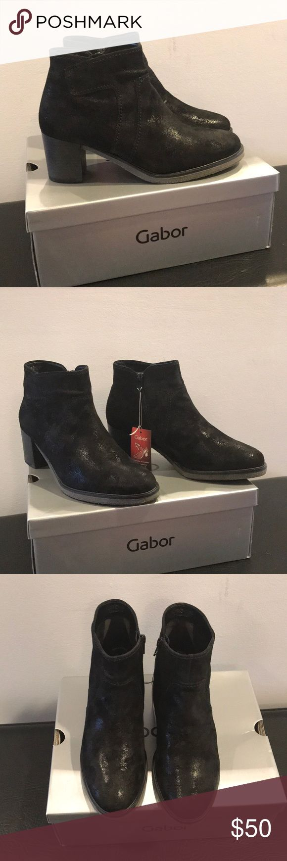 """Nib Gabor black booties size 8-1/2 Nib Gabor black booties size 8-1/2 with removable insoles heel measures 2-1/2"""" with a non slip sole Gabor Shoes Ankle Boots & Booties"""