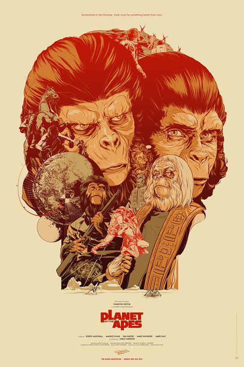 Limited edition screenprinted poster for the original 1968 Planet of the Apes film, starring Charlton Heston and Roddy McDowall - Martin Ansin