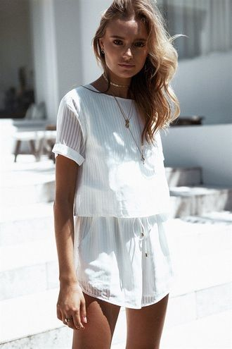 $70 Monochrome All White Everything Cute Summer Spring Beach Inspired Outfit White T-Shirt Style Romper Playsuit With Simple Gold Jewellery