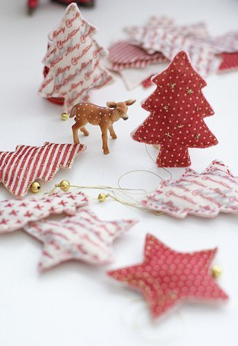 Felt Christmas Ornaments--or cotton from Christmas prints!