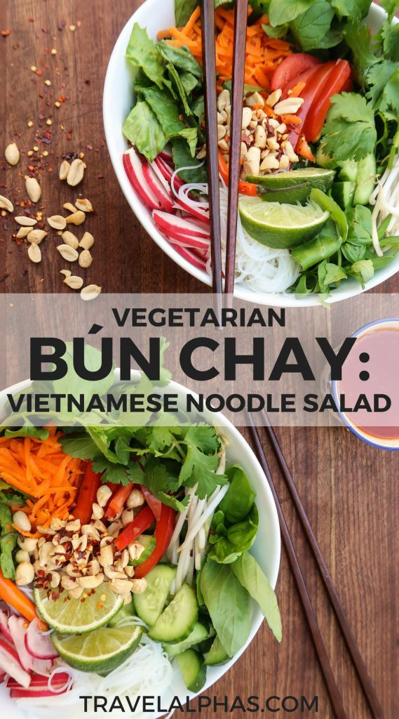 In need of a delicious Vietnamese meal? Then this bún chay is for you. This vegetarian bún chay recipe is absolutely delicious. Bright, fresh, crunchy, tangy, spicy, and herbaceous, you will love this Vietnamese noodle salad. Full of fresh vegetables, vibrant herbs, and a zingy dressing, this bún chay couldn't be more healthy or satisfying. Plus, it's easy to make, and you can easily make this recipe vegan, or add proteins of your choice. Yum!