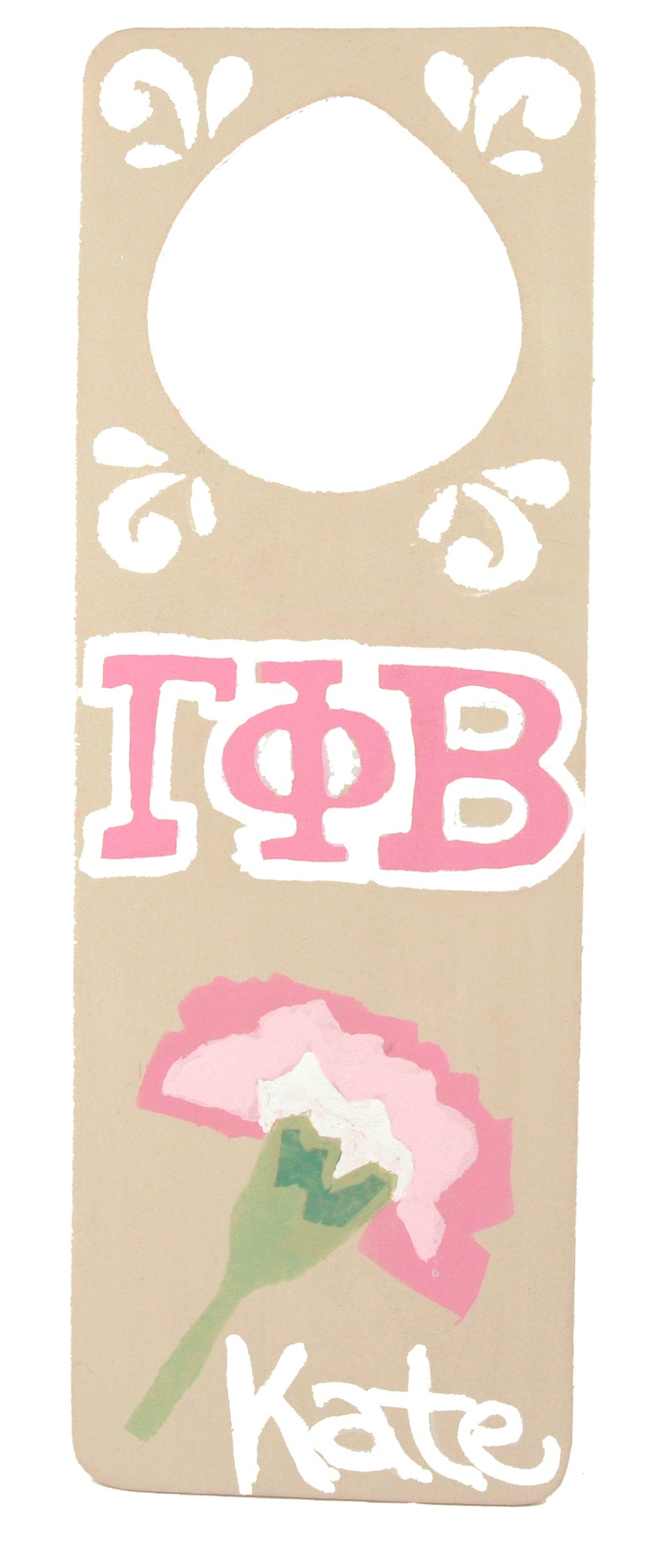 Gamma Phi Beta door hanger made with supplies and custom stencils from DIYGreek.com ...for the wing?