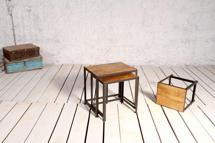 Set med tre små bord av återvunnet trä - Soffbord - Bord - Myhomemyway.se