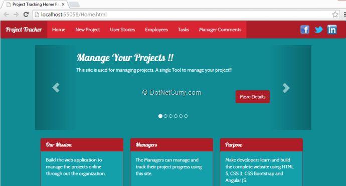 Project Tracking Website using AngularJS and ASP.NET Web API | DotNetCurry