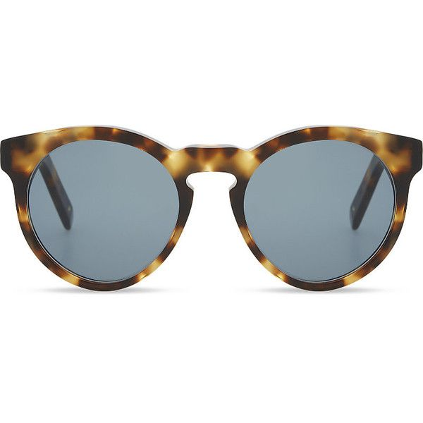 Dick Moby White havana round frame sunglasses ($199) ❤ liked on Polyvore featuring accessories, eyewear, sunglasses, beach sunglasses, lens glasses, flat lens sunglasses, white glasses and folding sunglasses