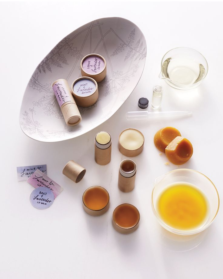 Lavender Lip Balm   Martha Stewart - Follow these instructions to make four lip balms (two cardboard tubes and two cardboard pots). Lavender essential oil's scent can be very strong; you can soften it by mixing in basil, mint, or lemon essential oil (try a ratio of 1 to 2). #diylipbalm #lipcare #lavenderoil
