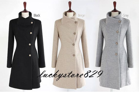 I want all 3 colors!!! -- women's Fitted Wool autumn winter Pashm Coat jacket /winter jacket Autumn Winter  Wool Jacket Women Coat Light gray S-L on Etsy, $55.00