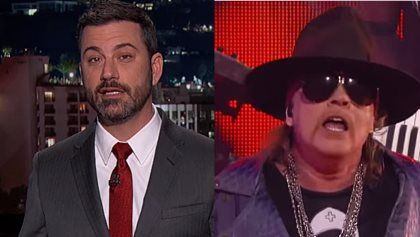 """JIMMY KIMMEL Pokes Fun At AXL ROSE For Canceling Talk-Show Appearance JIMMY KIMMEL Pokes Fun At AXL ROSE For Canceling Talk-Show Appearance        GUNS N' ROSES  singer  Axl Rose 's scheduled appearance on Tuesday night's (January 5) edition of  ABC-TV 's  """"Jimmy Kimmel Live!""""  was canceled. As of early Monday (January 4)  Rose  was listed as the show's first guest for the broadcast but his name was removed from the site by mid-afternoon. No reason has been given for him dropping out…"""