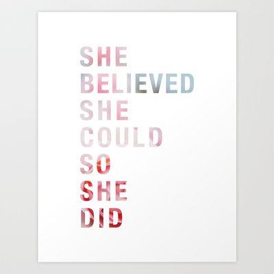 SHE BELIEVED Art Print by tahitianvanilla - $18.00