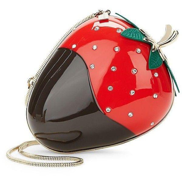 Kate Spade New York Embellished Strawberry Bag ($348) ❤ liked on Polyvore featuring bags, handbags, cherry, cream handbag, chocolate handbags, sparkly purses, sparkle handbags and kate spade