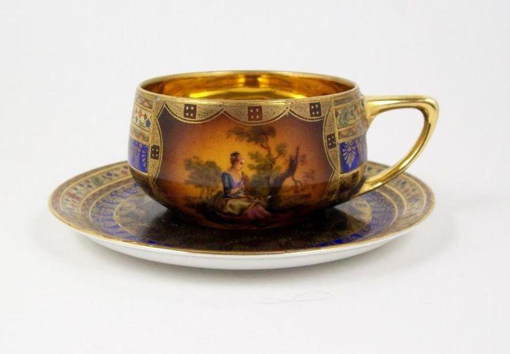 Vintage+Portrait+Demitasse+Tea+Cup+Bohemia+Donatello+Gold+Lined+3+oz+1941-1945