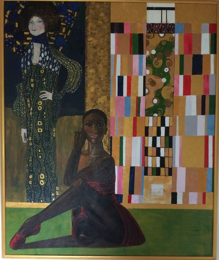 Gustav Klimts veninde Emile Fl¨ge i baggrunden, og Misty, danserinde i forgrunden