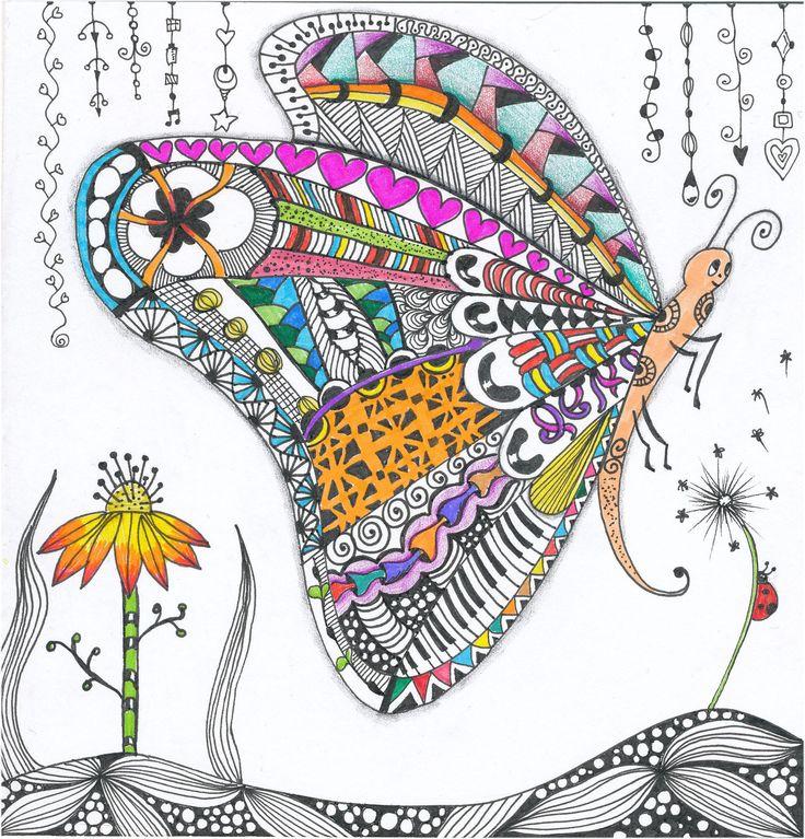 Grace Bonselaar - Butterfly #zentangle