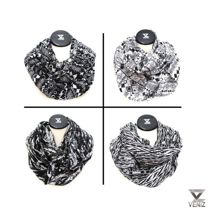 Graphic black and white scarves. www.veniz.fi
