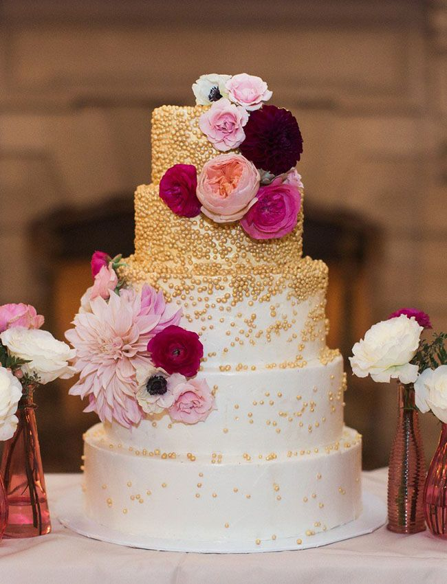 gold scattered cake