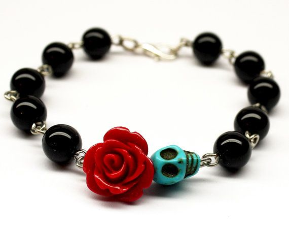Original Day of the Dead Black Obsidian Red Rose by Exgalabur