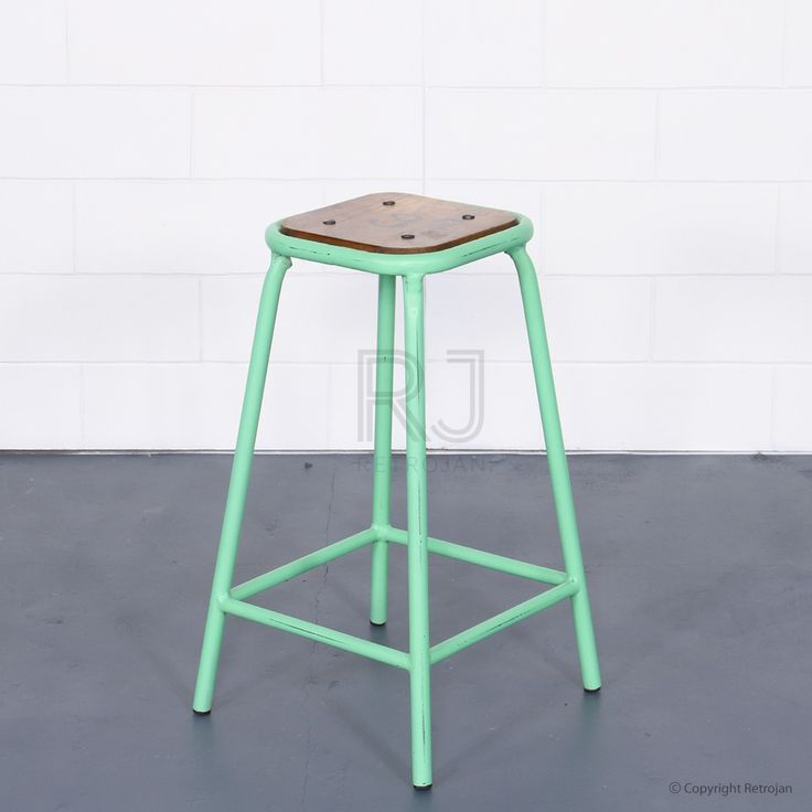 Tall Baez Industrial Style Stool - Mint Green | $99.00