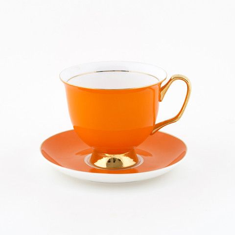 #Orange #375mL #XL #Teacup and #Saucer #Set | The #bigger teacup you have always wanted! Get yours today at lyndalt.com