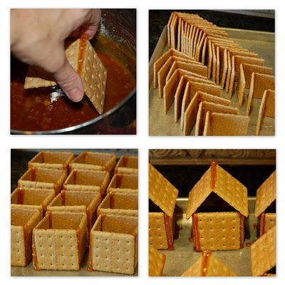 restlessrisa - The trick to making graham cracker houses (If this really works - brilliant!!! My days of hot gluing graham crackers could be over!)