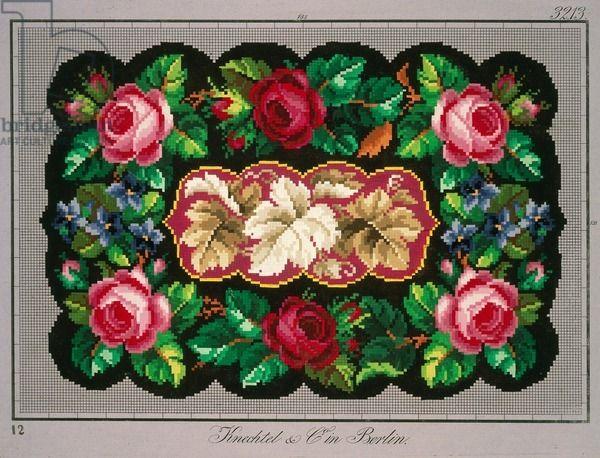 Pillow or carpet pattern with roses, violets and vine leaves, 19th century - Knechtel und Co. - mit schwarzem Hintergrund