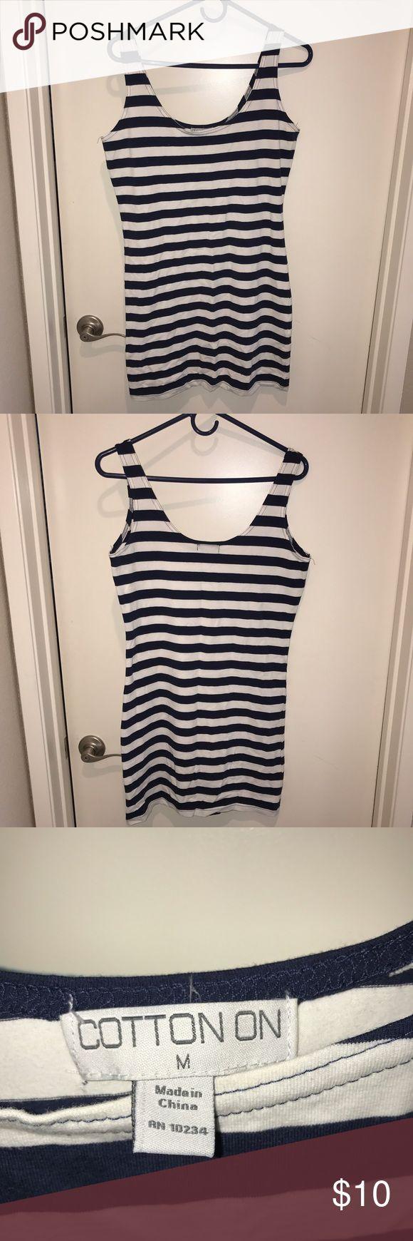 Striped bodycon dress Nautical style striped bodycon dress. Cotton blend. Very stretchy. Never worn! Fits true to size.  CottonOn Dresses Mini
