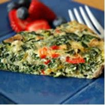Recipe for CRUSTLESS SPINACH QUICHE  *Coach approved for ALL phases.  ~According to my calculations: Divide into 8 servings = 1 cup of veggies per serving, Divide into 4 servings = 2 cups of veggies per serving.