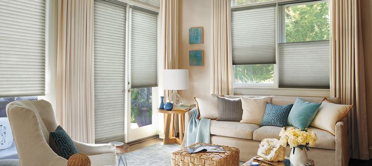"""The Alustra Collection of Duette Architella honeycomb shades from Hunter Douglas offer enhanced energy efficiency, dramatic 1 1/4"""" pleats, and exclusive sheers and hardware finishes."""