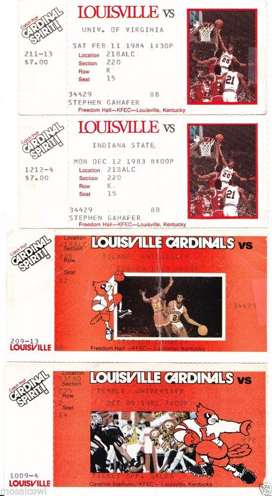 1980s Tickets, University of Louisville Basketball & Football  ~ 4 ticket stubs.  For sale on ebay.