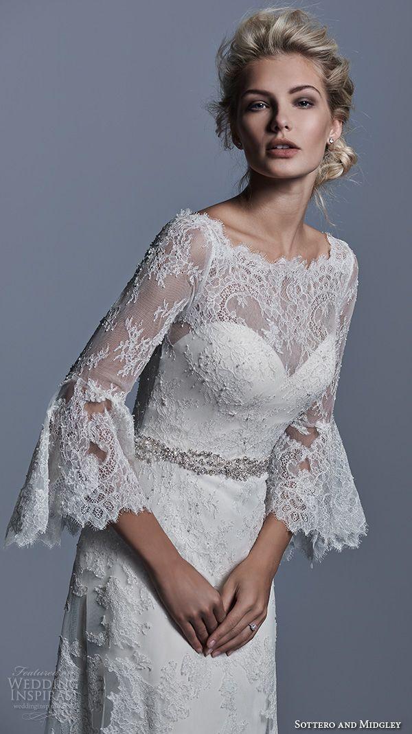 sottero and midgley bridal fall 2015 2016 bateau neckline poet long sleeves lace beautiful a line wedding dress fatima closeup