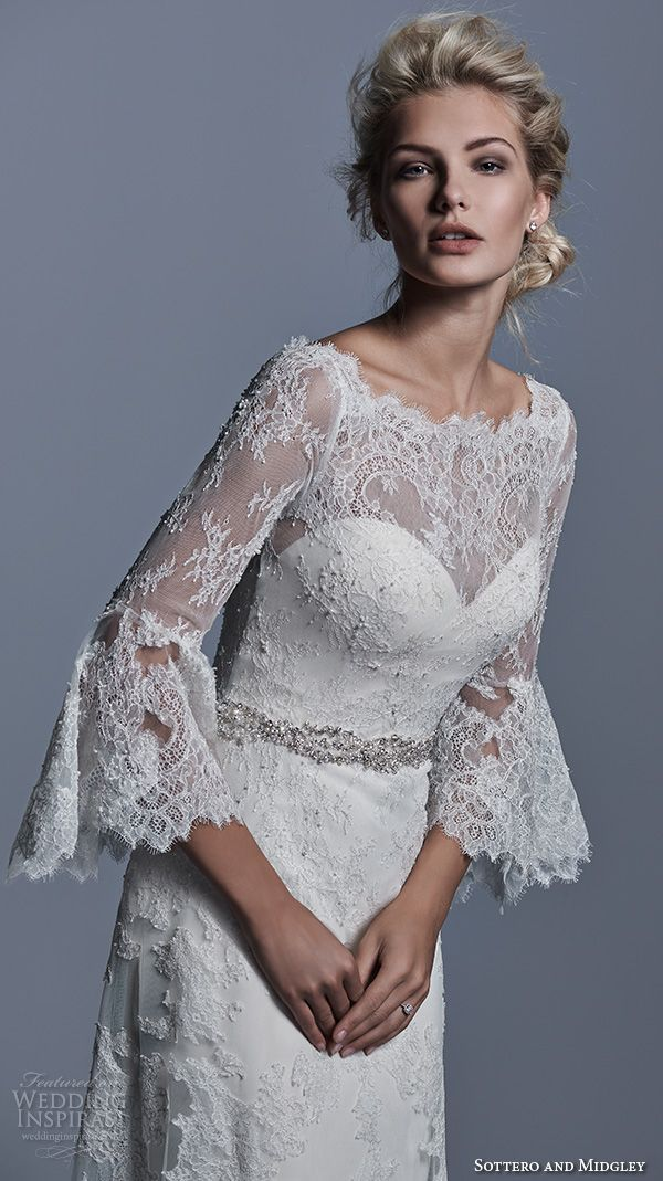 sottero and midgley bridal fall 2015 2016 bateau neckline poet long sleeves lace beautiful a line wedding dress fatima closeup