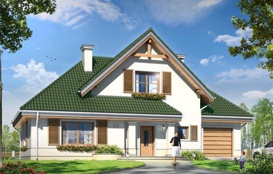 """Projekt Dom W Brzozach to dom jednorodzinny dla rodziny cztero-pięcioosobowej. Budynek parterowy z poddaszem użytkowym, zaprojektowany został na planie litery """"L"""", z dobudowanym garażem. Budynek przekryty jest zasadnicznym dwuspadowym dachem, oraz skomponowanymi z nim dwoma trzyspadowymi dachami. Bryła ozdobiona została podcieniami i balkonem."""