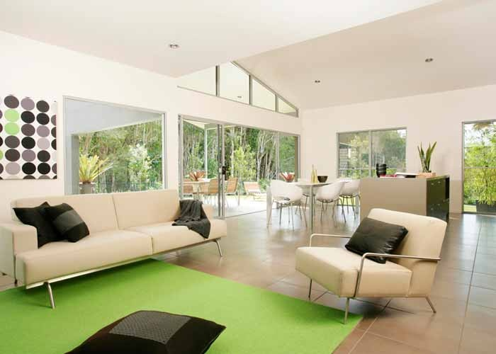 Living Room Packages Brisbane Grey With Brown Leather Sofa Raking Ceilings High Level Windows Make For More ...