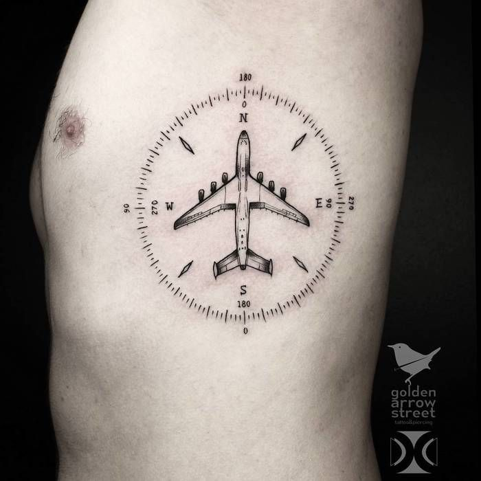 Explore the most beautiful airplane tattoo ideas, from small designs depicting airplane silhouettes, to more elaborate renderings of real looking airplanes. - Part 3
