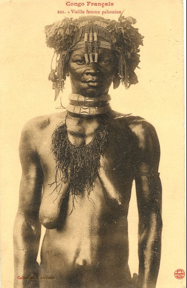 Jean Audema postcard Fang woman choker